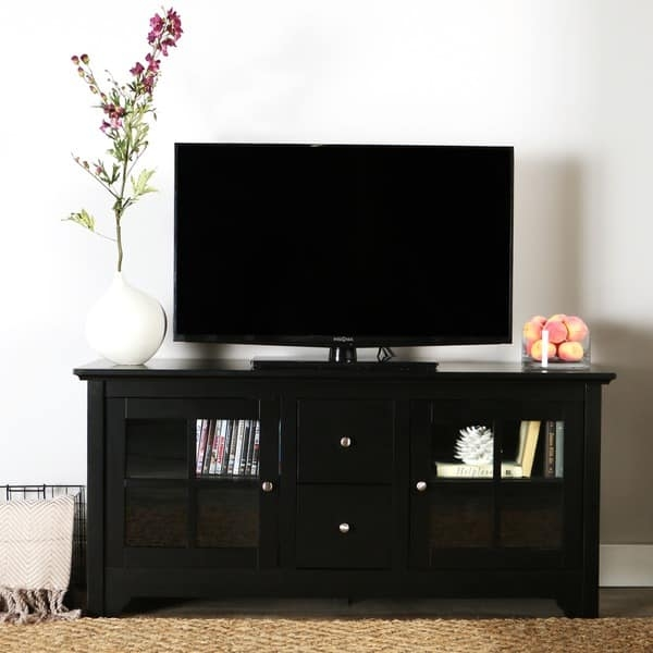 Impressive Unique Solid Wood Black TV Stands Regarding 52 Inch Black Solid Wood Tv Stand Free Shipping Today (Image 35 of 50)