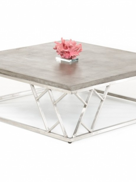 Impressive Variety Of Chrome And Wood Coffee Tables In Concrete Chrome Coffee Table Modern Furniture Brickell Collection (Image 26 of 50)