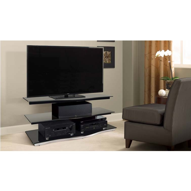 Impressive Variety Of Glass Front TV Stands Regarding Bello Modern Curved Front Black Glass 55 Inch Tv Stand Black Pvs (Image 28 of 50)