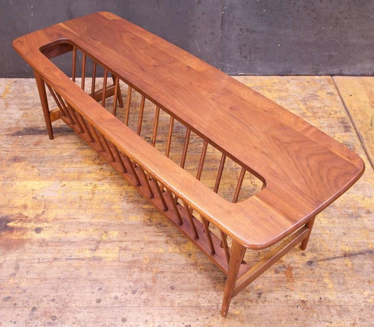 Impressive Variety Of Long Coffee Tables Throughout Monumental Cabin Modern Mid Century Magazine Rack Walnut Long (View 26 of 50)