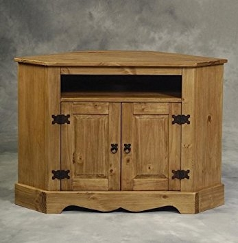 Impressive Variety Of Pine Corner TV Stands With Amazon Corner Tv Stand Cabinet Santa Fe Distressed Pine (Image 24 of 50)