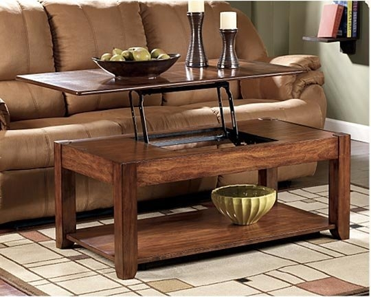 Impressive Variety Of Raise Up Coffee Tables With Regard To Raising Coffee Table Coffee Table Brown Rectangle Unique Wood (View 18 of 40)