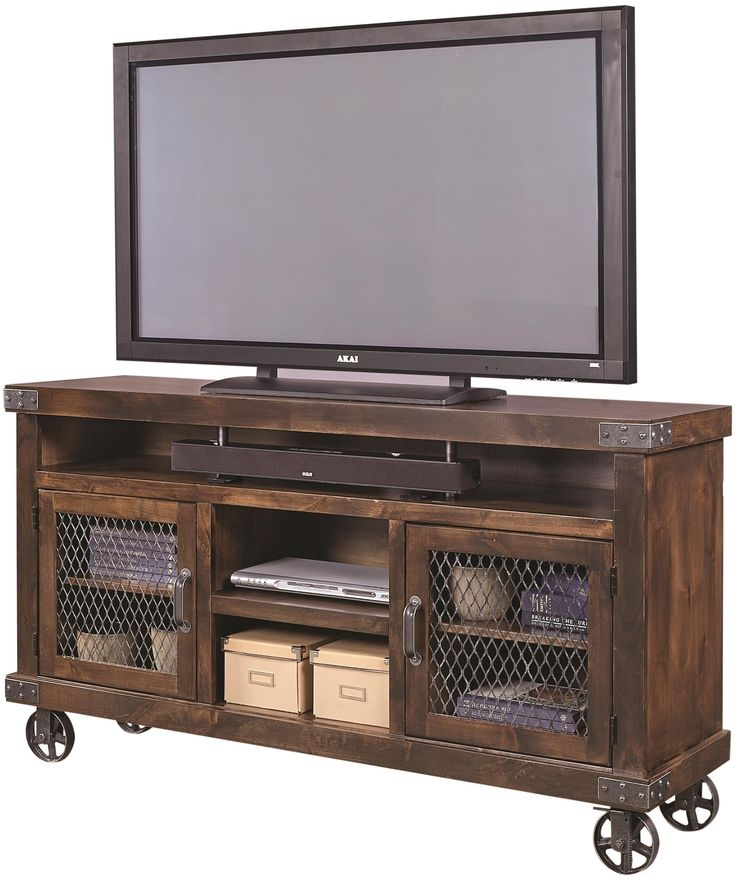 Impressive Variety Of Reclaimed Wood And Metal TV Stands With Industrial 65 Console With Metal Casters Aspenhome Consoles (Image 32 of 50)
