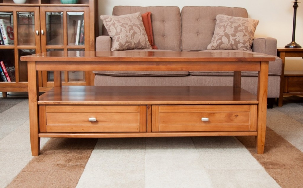 Impressive Variety Of Rustic Coffee Tables With Bottom Shelf Inside Great Solid Wood Coffee Table (View 14 of 50)