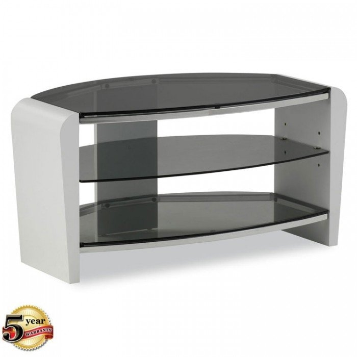 Impressive Variety Of Small White TV Stands Regarding Alphason Francium Small White Tv Stand With Smoked Glass Frn (Image 25 of 50)
