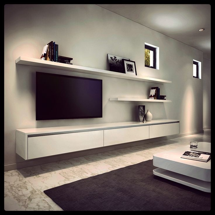 Impressive Variety Of White Gloss TV Stands With Drawers With Regard To Tv Stands Contemporary White Floating Tv Stand Design Ideas (Image 25 of 50)
