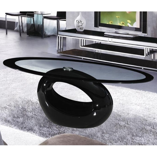 Impressive Well Known Black Oval Coffee Tables Inside Cairo Oval Black Border Glass Coffee Table With Black Gloss (View 15 of 40)