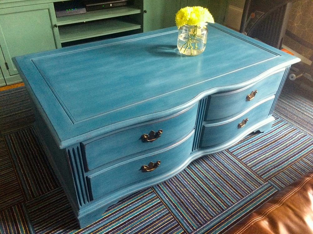 Impressive Well Known Blue Coffee Tables With Regard To Blue Painted Coffee Table Coffee Table Design Ideas (Image 28 of 50)