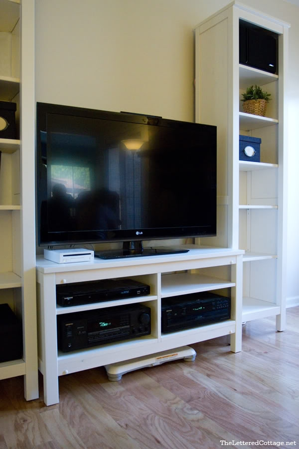 Impressive Well Known Bookshelf TV Stands Combo With Hemnes Tv Stand Redo True Value Diy Blog Squad The Lettered (Image 27 of 50)