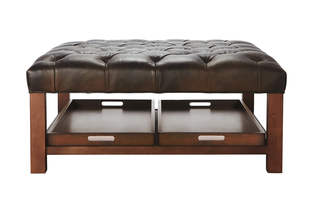 Impressive Wellknown Brown Leather Ottoman Coffee Tables With Storages In Brown Leather Ottoman Coffee Table Ideas Eva Furniture (Image 19 of 40)