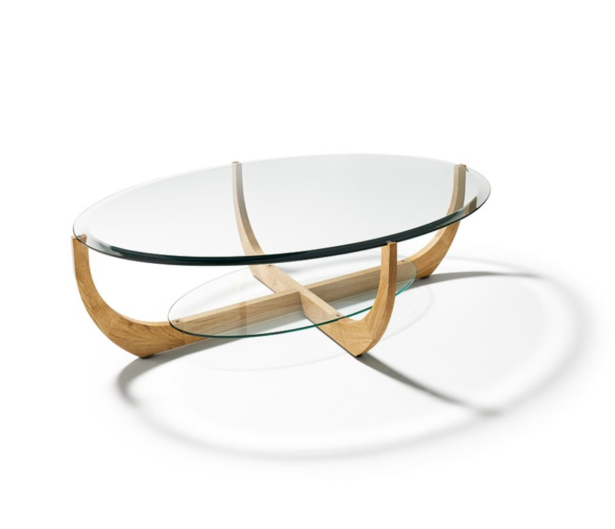 Impressive Wellknown Coffee Tables With Oval Shape Throughout Coffee Table Clear Oval Shape Glass And Steel Coffee Table Clear (Image 28 of 50)