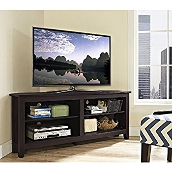 Impressive Well Known Corner 55 Inch TV Stands With Regard To Amazon Sauder Harbor View Corner Tv Stand In Antiqued Paint (Image 33 of 50)
