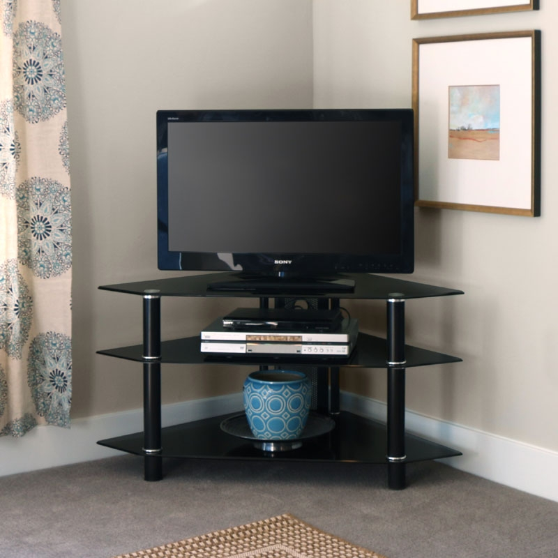 Impressive Wellknown Cream Corner TV Stands Pertaining To Tv Stands Amusing Black Tempered Glass Tv Stand 2017 Design (Image 29 of 50)