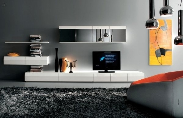 Impressive Wellknown Dark TV Stands With Regard To Furniture Modern Home Decor With Dark Grey Fluffy Rug Near (Image 34 of 50)