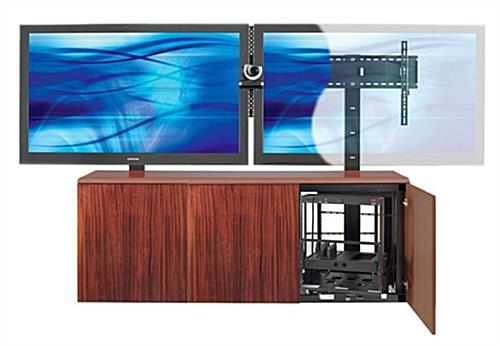 Impressive Wellknown Dual TV Stands Inside Contemporary Dual Mount Tv Stand W Mahogany Veneer Storage Area (Image 26 of 50)