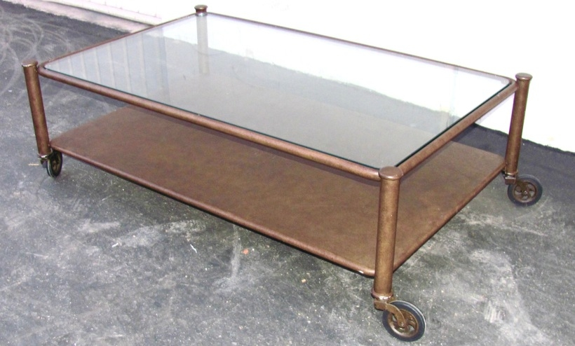 Impressive Wellknown Glass Coffee Tables With Casters Pertaining To Industrial Victorian Metal And Glass Coffee Table On Casters (Image 28 of 50)