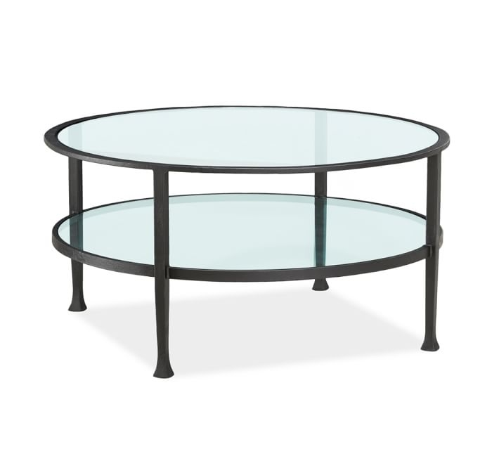 Impressive Well Known Glass Coffee Tables With Shelf Throughout Tanner Round Coffee Table Bronze Finish Pottery Barn (View 42 of 50)