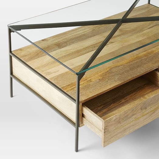 Impressive Well Known Glass Coffee Tables With Storage In Glass Topped Industrial Storage Coffee Table West Elm (Image 23 of 50)