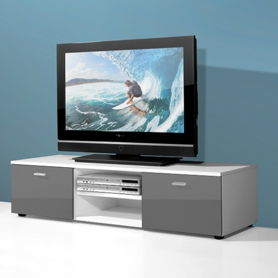 Impressive Wellknown Gloss TV Stands Inside Modern Low Board Lcd Tv Stand In White And 2 Doors In Grey (Image 34 of 50)