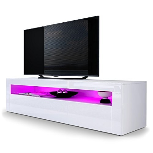 Impressive Well Known High Gloss TV Cabinets Pertaining To White High Gloss Tv Unit Amazoncouk (View 12 of 50)