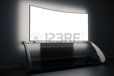 Impressive Wellknown Illuminated TV Stands Regarding Modern Tv Stand And Empty Illuminated Flat Screen In Dark Room (Image 33 of 50)
