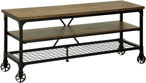 Impressive Wellknown Industrial Metal TV Stands Intended For Rustic Tv Stand Industrial Oak Wood Metal Storage Shelf Media (Image 28 of 50)
