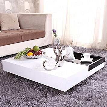 Impressive Well Known Large Low White Coffee Tables For Ospi White Gloss Square Coffee Table Low Table With Black Storage (View 7 of 50)
