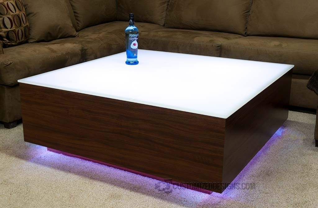 Impressive Well Known Led Coffee Tables Pertaining To Cubix Series 44 X 44 Led Lighted Coffee Table Lounge Furniture (Image 34 of 50)