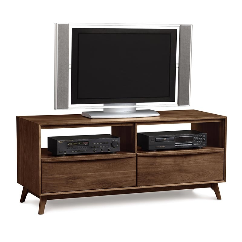 Impressive Well Known Long TV Stands Furniture In Modern Catalina Walnut Tv Stand Console American Made Mid (Image 31 of 50)