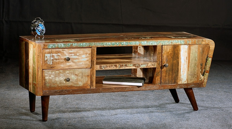 Impressive Wellknown Long Wood TV Stands Intended For Tv Stands Distressed Wood Tv Stand And Cabinets Contemporary (Image 29 of 50)