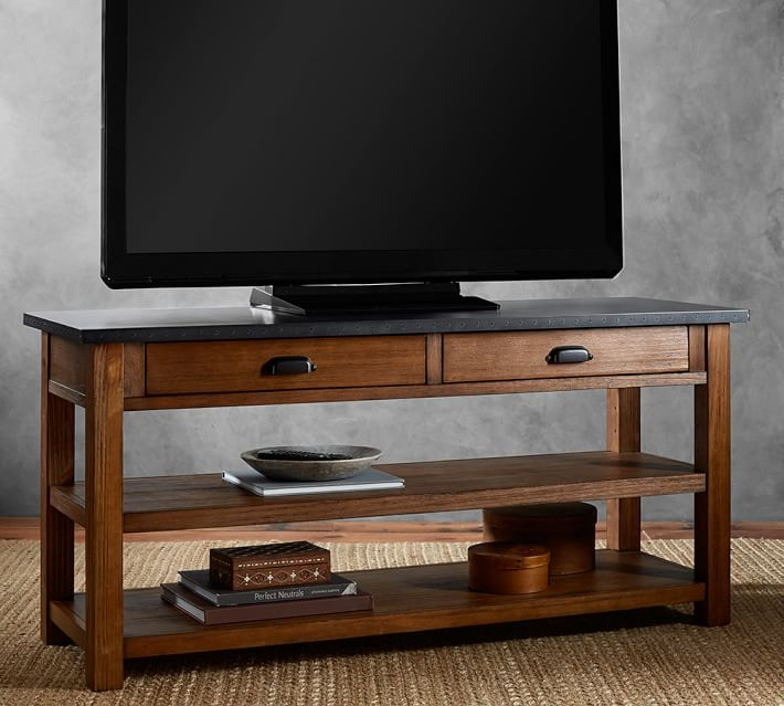 Impressive Well Known Metal And Wood TV Stands Intended For Channing Tv Stand Pottery Barn (Image 29 of 50)