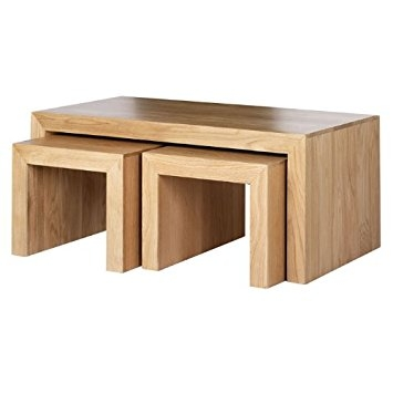 Impressive Well Known Nest Coffee Tables Within Cuba Oak Long John Nest Coffee Table Furniture Amazoncouk (Image 26 of 50)