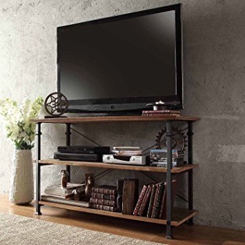Impressive Well Known Reclaimed Wood And Metal TV Stands With Amazon Modhaus Modern Industrial Light Brown Rustic Wood And (Image 33 of 50)