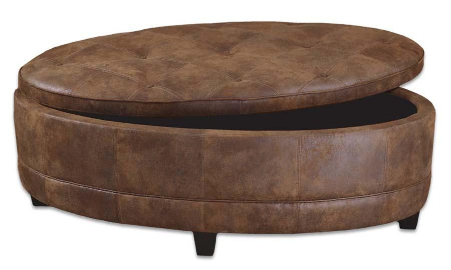 Impressive Well Known Round Coffee Table Storages Intended For Design Of Coffee Table Storage Ottoman Berkeley Espresso Leather (Image 23 of 50)