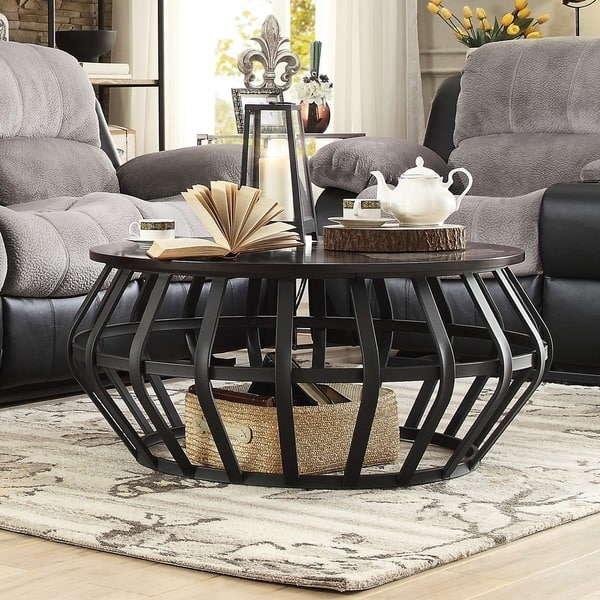 Impressive Well Known Round Slate Top Coffee Tables With Regard To Top Product Reviews For Devon Metal Frame Round Cage Slate Accent (Image 23 of 40)