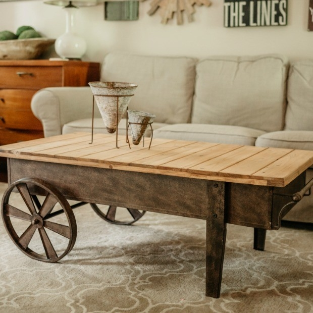 Antique Coffee Table On Wheels: 50 Photos Rustic Coffee Table With Wheels
