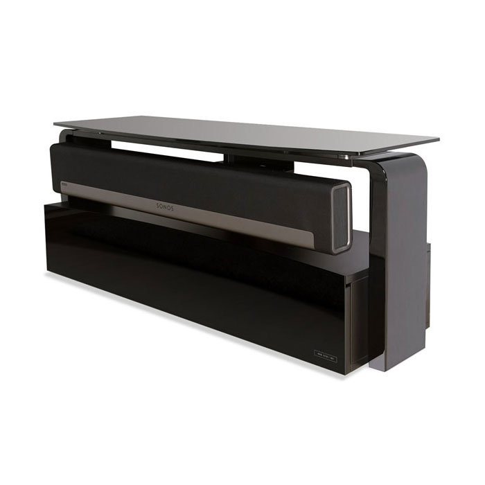 Impressive Well Known Sonos TV Stands Throughout Alphason As9001 Black Sonos Playbar Tv Stand Alphason (View 2 of 50)