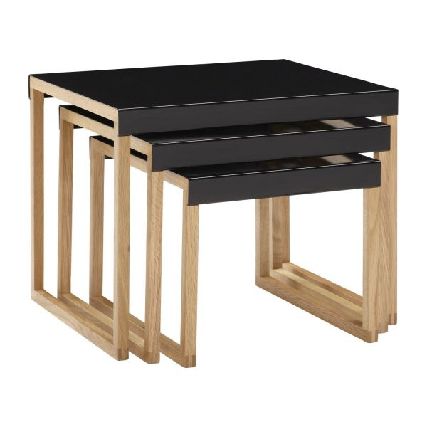 Impressive Wellknown Stackable Coffee Tables Throughout Kilo Accent Tables Black Wood Metal Habitat (View 17 of 50)