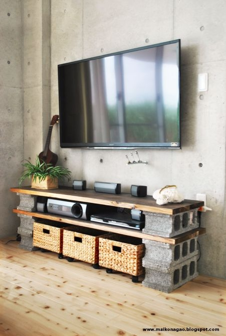 Impressive Well Known TV Stands With Baskets Regarding Diy Cinder Block Tv Cabinet Put Wheels Under Basket As Drawers (Image 33 of 50)