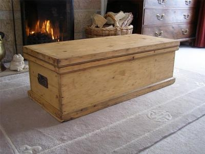Impressive Wellliked Blanket Box Coffee Tables Inside Long Low Antique Victorian Pine Blanket Box Trunk Chest Coffee (Image 33 of 50)