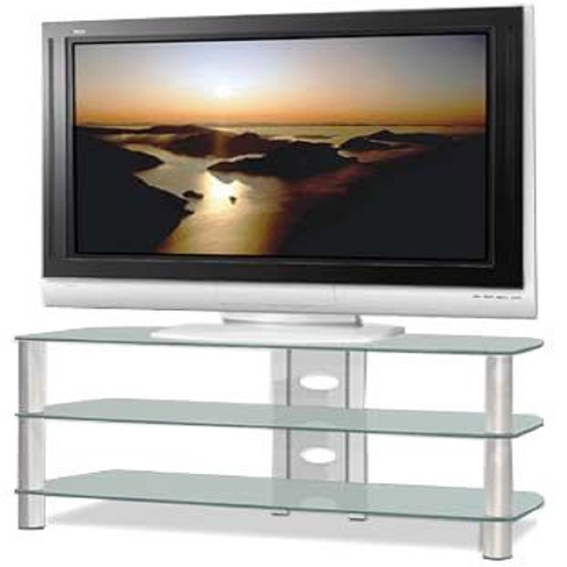 Impressive Wellliked Glass TV Stands For Tech Craft Sorrento Series Silver And Black Glass Tv Stand For (View 43 of 50)