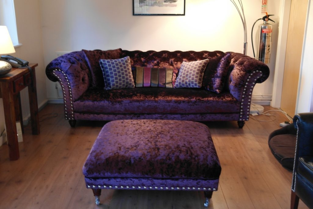Impressive Wellliked Purple Ottoman Coffee Tables Pertaining To Decor Dark Purple Velvet Chesterfield Couch And Square Ottoman (Image 19 of 40)
