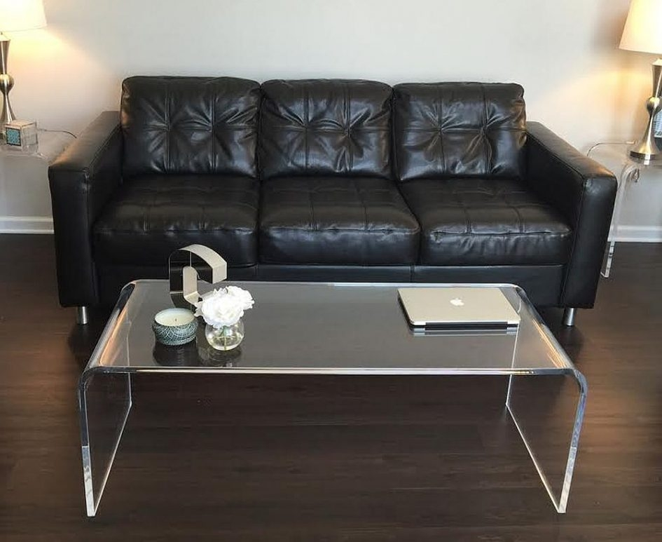 Impressive Wellliked Rectangle Glass Chrome Coffee Tables Intended For Contemporary Rectangle Transparent Chrome Glass Cb2 Coffee Table (Image 32 of 50)