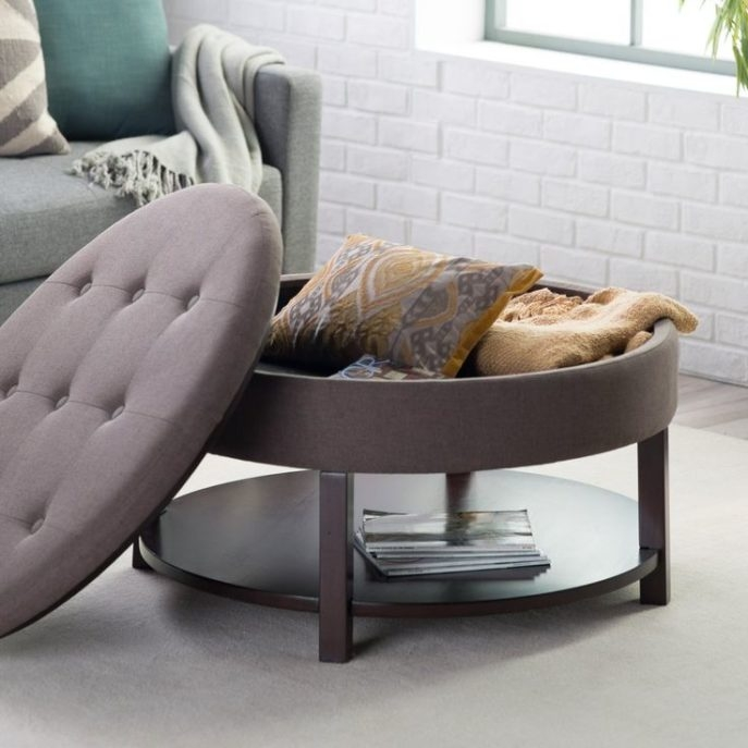 Impressive Wellliked Round Upholstered Coffee Tables Regarding Round Tufted Storage Ottoman Coffee Table Storagedesignclosets (Image 28 of 40)