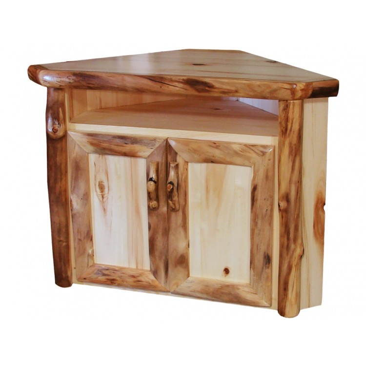 Impressive Wellliked Rustic Corner TV Stands With Rustic Aspen Log Corner Tv Stand Aspen Log Tv Stand (Image 27 of 50)