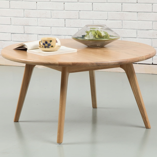 Impressive Wellliked Solid Round Coffee Tables Throughout Magnus Round Coffee Table Solid American Oak 90cm Diameter (Image 23 of 40)