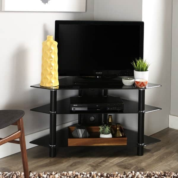 Impressive Widely Used 44 Swivel Black Glass TV Stands Inside Black Glass Metal 44 Inch Corner Tv Stand Free Shipping Today (View 21 of 50)