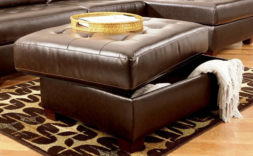 Impressive Widely Used Brown Leather Ottoman Coffee Tables Intended For Amazing Ottoman Coffee Table With Storage Best Ideas About Leather (View 16 of 50)
