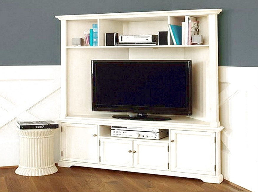 Impressive Widely Used Corner Unit TV Stands With Regard To Oak Tv Stand With Glass Doors Un Varnish Teak Wood Media Cabinet (Image 27 of 50)
