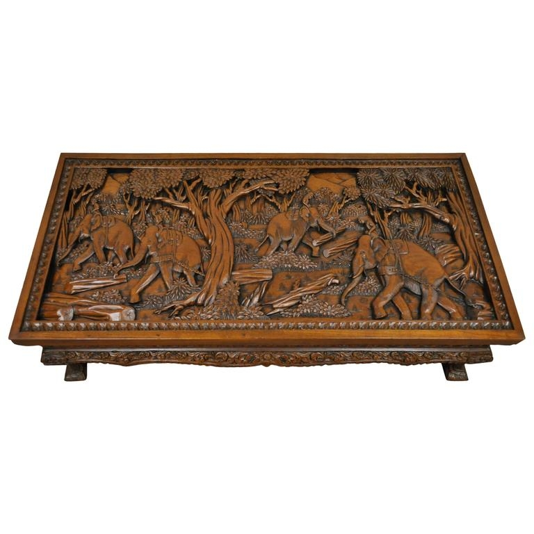 Impressive Widely Used Elephant Glass Top Coffee Tables With 20th Century Vietnamese Hand Carved Asian Coffee Low Table With (Image 26 of 50)